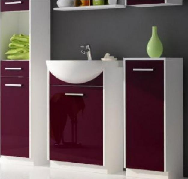 kaufen Badmöbel Badmöbel-Set 2-teilig weiß / Absetzungen violett Hochglanz Neu