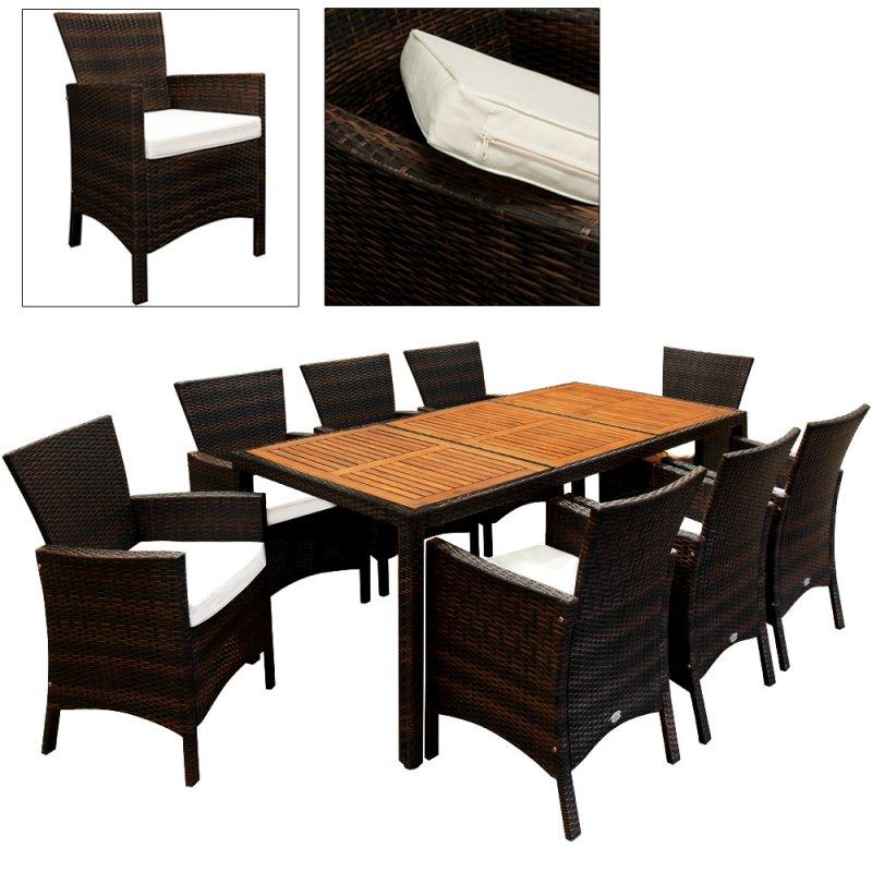 kaufen 17 tlg. Polyrattan Gartengarnitur mit Tischplatte aus Akazienholz - SK02224