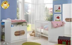 Babybett Bett + Wickelkommode weiß / baltimore-walnut Neu