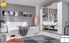 Schlafzimmer komplett Komplettzimmer 4-teilig mit Schwebetürenschrank weiß B-Ware