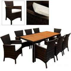 17 tlg. Polyrattan Gartengarnitur mit Tischplatte aus Akazienholz - SK02224