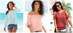 Women's summer and beachwear. T-shirts, blouses, tunics, trousers, cardigans, overoly, tops, shorts.