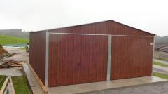 Doppelgarage Metallgarage Garage nach Maß Wellblech Lager 6 x 6 m Holzoptik