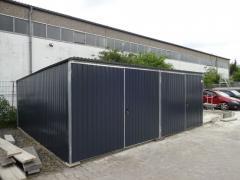 Fertiggaragen Blechgarage Metallgarage Wellblech Halle nach Maß 6x7 m Flachdach