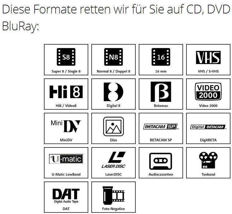 Auftrag Videokassetten & Co. auf DVD überspielen